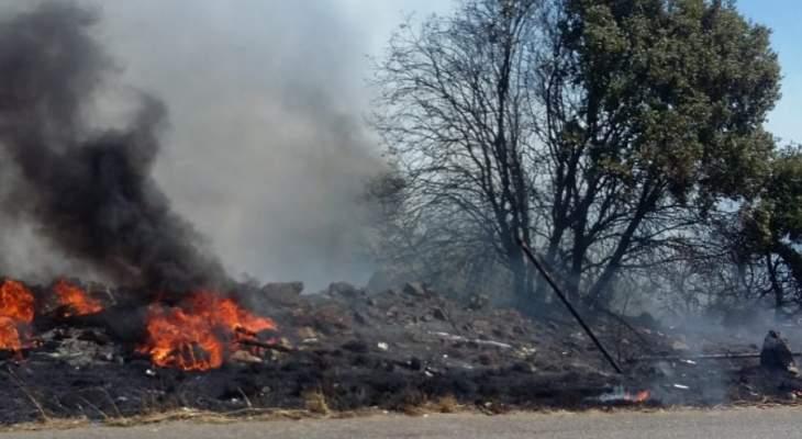 النشرة: الدفاع المدني أخمد حريق أعشاب في كسارة - زحلة
