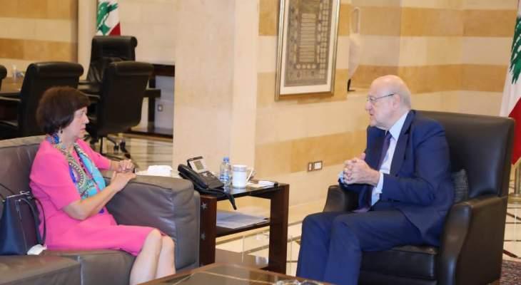 فرونتسكا بعد لقائها ميقاتي: الأمم المتحدة مستمرة بمساعدة لبنان في المجالات كافة