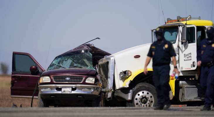 مقتل 13 شخصا نتيجة حادث تصادم بين شاحنة وسيارة بجنوب كاليفورنيا الأميركية