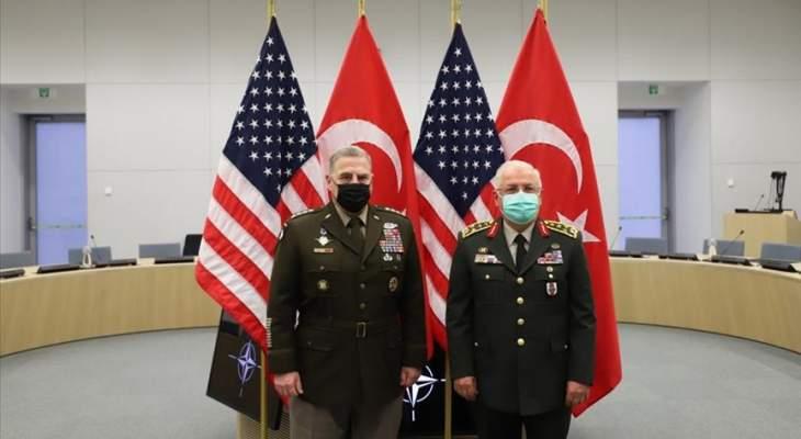 رئيسا أركان تركيا والولايات المتحدة بحثا بمكافحة الإرهاب والانسحاب الأميركي من أفغانستان