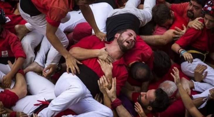 انهيار برج بشري في احتفال تقليدي في برشلونة