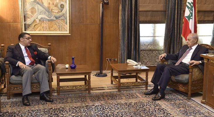بري التقى المطران مطر وعرض الاوضاع العامة مع السفير المصري