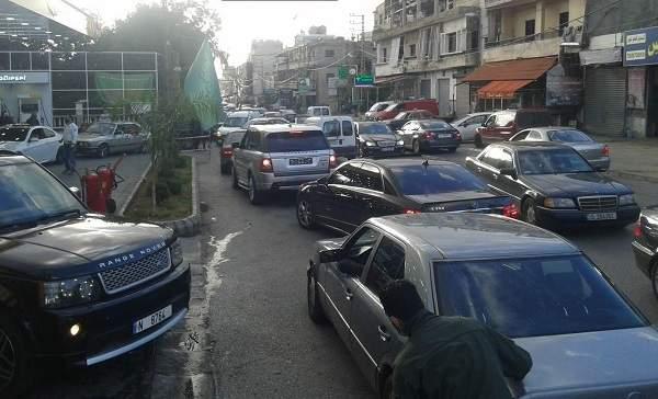 النشرة: زحمة سير خانقة في النبطية بسبب طوابير المحروقات