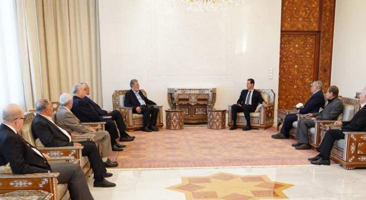 الأسد لوفد من قادة الفصائل الفلسطينية: الكيان الإسرائيلي لا يفهم لغة السلام