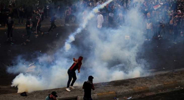 مواجهات بين قوات الأمن العراقية ومحتجين في ساحة الخلاني وسط بغداد