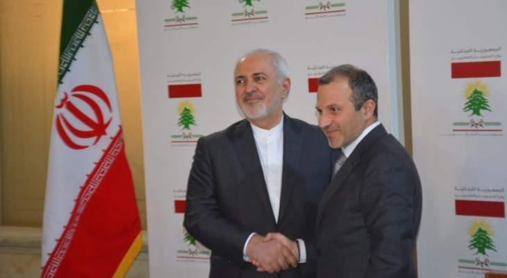 باسيل: ظريف أكد الدعم الإيراني للعودة الآمنة السريعة للنازحين السوريين