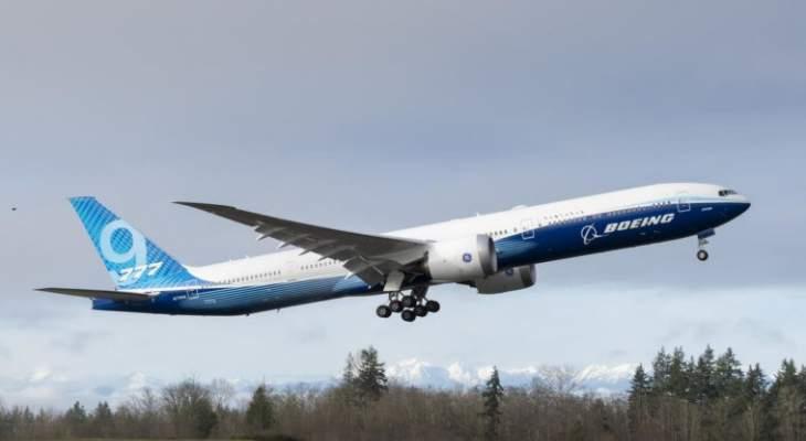 """طائرة بوينغ """"777-إكس"""" للمسافات الطويلة أنجزت أول رحلة تجريبية لها"""
