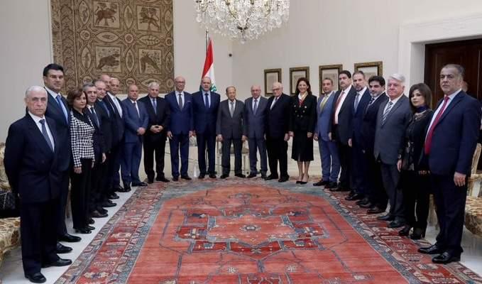الرئيس عون التقى النقيب الجديد للمحامين ببيروت ملحم خلف مع أعضاء مجلس النقابة