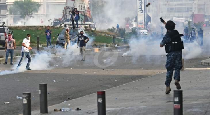 استمرار المواجهات في وسط بيروت بين المتظاهرين والقوى الامنية