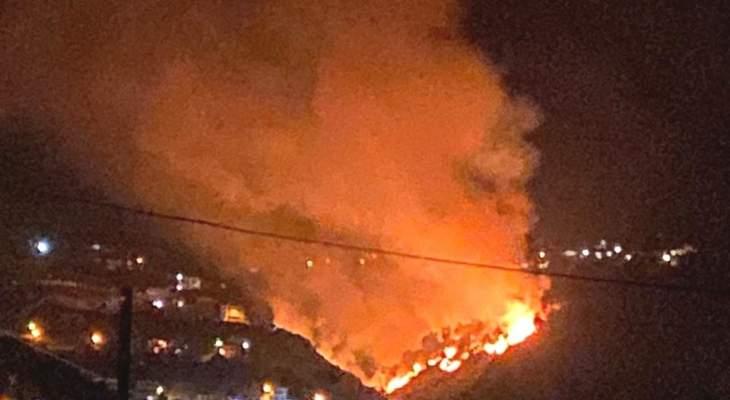 اندلاع حريق كبير امتد من عيات الى حرج الصنوبر في الوادي الفاصل بين عين يعقوب و الشقدوف