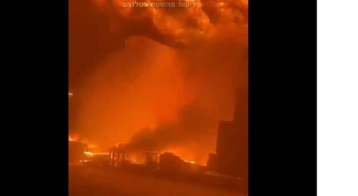 حريق هائل في ميناء أسدود جنوب إسرائيل إثر سقوط صواريخ أطلقت من غزة