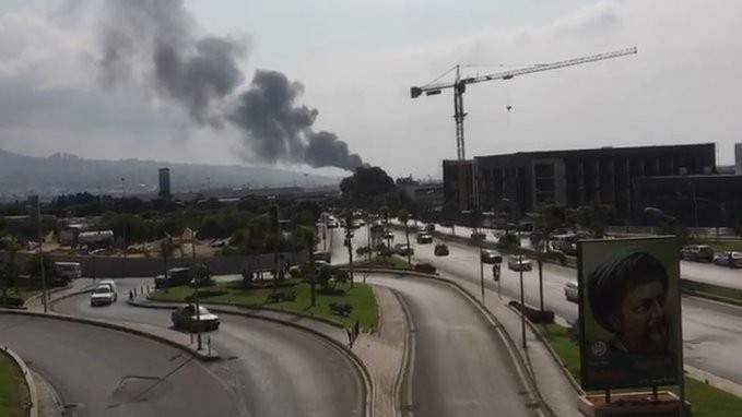 اندلاع حريق قرب مطار بيروت الدولي