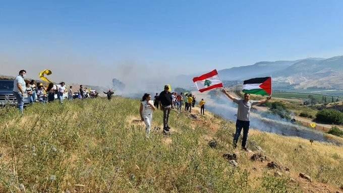 جريحان لبنانيان أثناء محاولة شبان الدخول الى مستعمرة المطلة عبر السياج الشائك