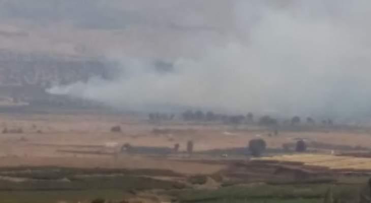 النشرة: حريق ضخم داخل الأراضي المحتلة مقابل العباسية على مسافة قريبة من السياج الحدودي