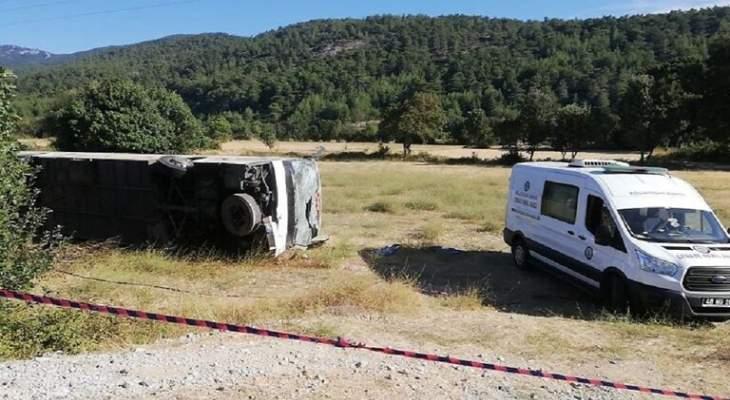 قتيل وعشرات الجرحى بإصطدام حافلتي سياح وطلاب في تركيا