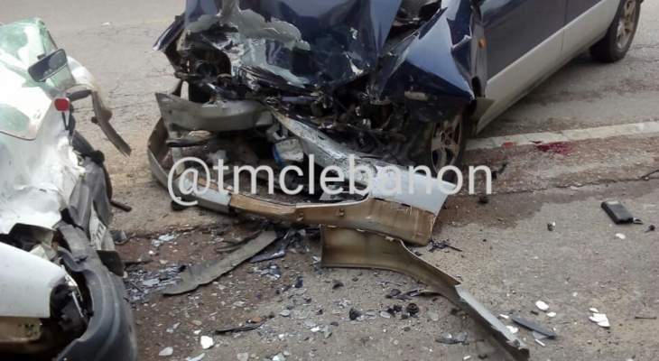 3 جرحى نتيجة تصادم بين سيارتين على طريق عام عدشيت - القصيبة