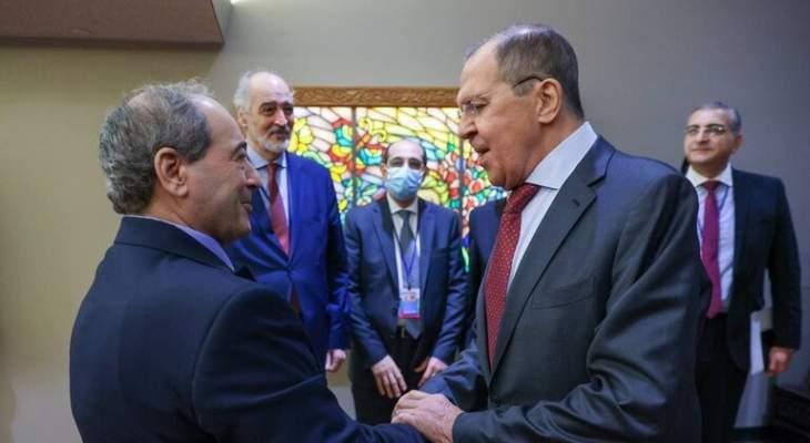 لافروف أكد للمقداد دعم روسيا المبدئي لسيادة سوريا