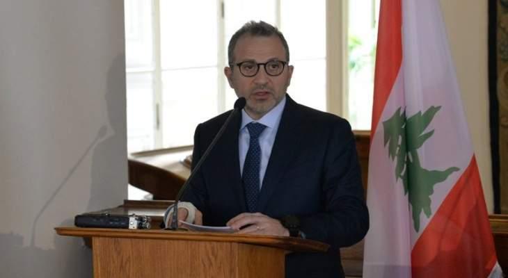 باسيل: النازحون السوريون لن يطول بقاءهم في لبنان بل سيرحلون الى اوروبا او الى سوريا