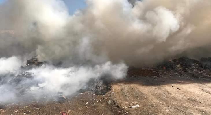 النشرة: حريق أمام معمل فرز النفايات في سينيق جنوب صيدا