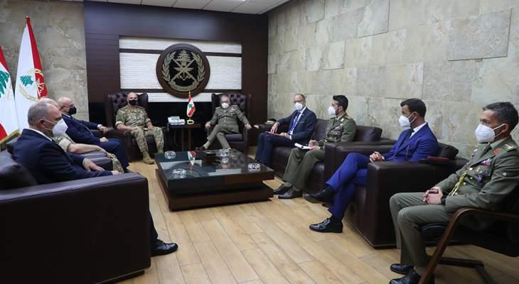 قائد الجيش بحث مع رئيس اللجنة العسكرية للاتحاد الأوروبي المساعدات التي تعمل الدول على تأمينها للمؤسسة