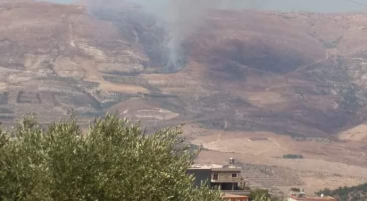 النشرة: اندلاع حريق بالأعشاب اليابسة في منطقة القاطع خراج بلدة ميمس