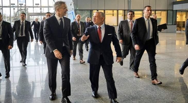 الملك الأردني وأمين عام الناتو يؤكدان على استمرار التعاون في مجالات الأمن والدفاع