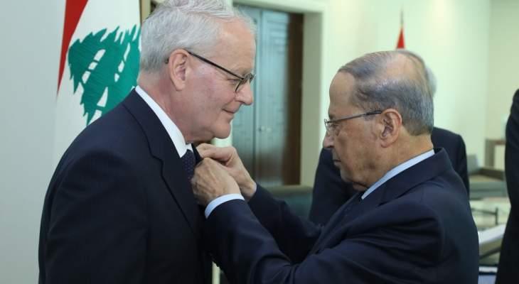 الرئيس عون منح رئيس محكمة التمييز الفرنسية وسام الأرز الوطني من رتبة ضابط