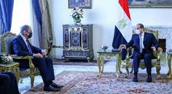 لافروف للسيسي: نرفض المس بحقوق مصر بالنيل وترفض الإجراءات الأحادية بسد النهضة