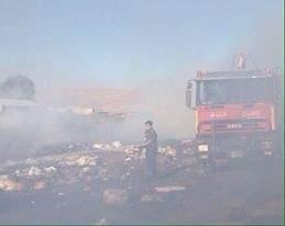 حريق في بنتاعل - جبيل والدفاع المدني يعمل على اخماده