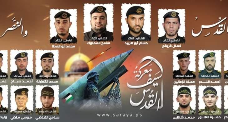 """سرايا القدس شيعت 20 من قادتها ومقاتليها سقطوا في معركة """"سيف القدس"""""""
