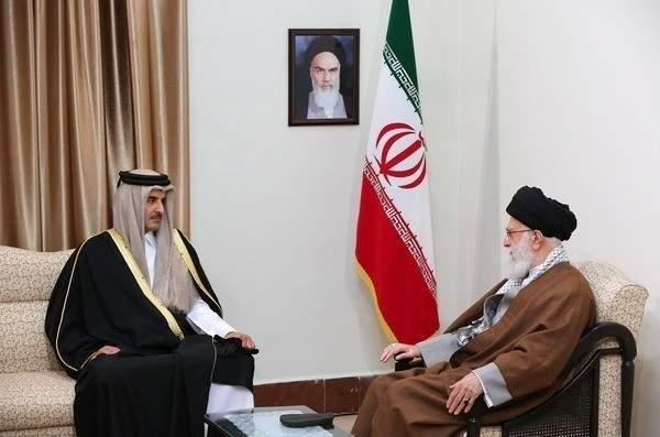 مرشد الثورة الإيرانية يستقبل أمير قطر حمد بن تميم آل ثاني