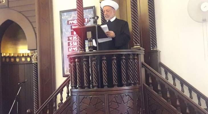 المفتي دلي في خطبة العيد: الحرب اللبنانية القذرة كلفت الوطن غاليا