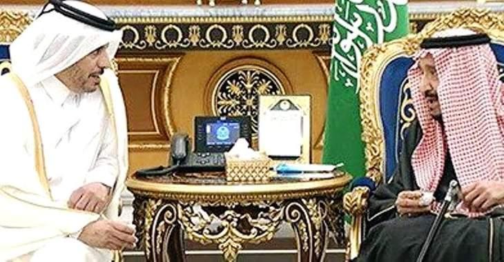 ملك السعودية التقى رئيس وزراء قطر الذي وصل إلى الرياض لحضور القمة الخليجية