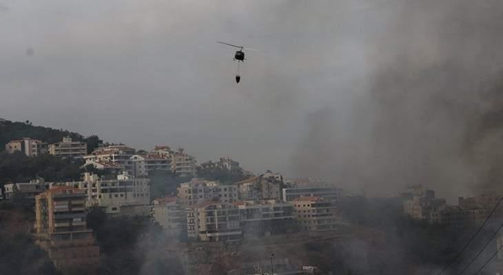 استقدام طوافة تابعة للجيش للمساهمة في إخماد النيران في أحراج حامات