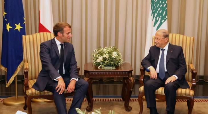 """مصادر """"النشرة"""":لقاء ماكرون-عون بحث بانعقاد مؤتمر اقتصادي لمساعدة لبنان"""