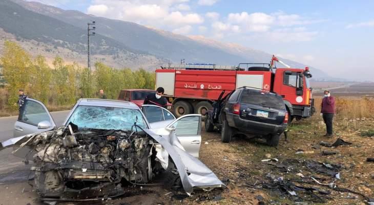 النشرة: جريحان في حادث سير مروع على طريق عام عميق البقاع الغربي