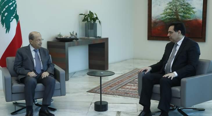 الرئيس عون يلتقي دياب في هذه الأثناء في قصر بعبدا