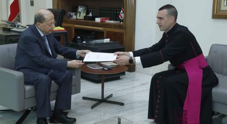 الرئيس عون: اللبنانيون ينظرون بكثير من الامل للقاء 1 تموز في الفاتيكان