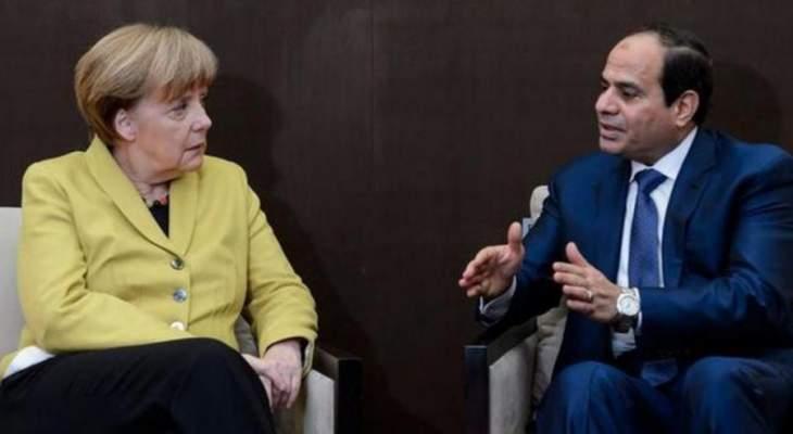 ميركل أكدت في اتصال مع السيسي تمسكها بالحل السياسي في ليبيا