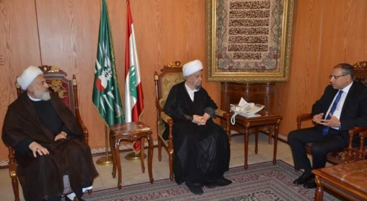 """الإمام قبلان بحث مع النجاري بالأوضاع العامة وجرى التشديد على رفض """"صفقة القرن"""""""