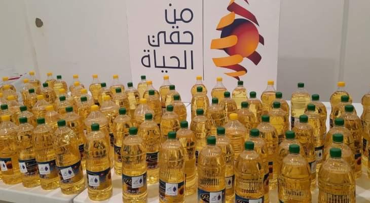 """جمعية """"من حقّي الحياة"""" وزّعت 100 غالون زيت دوار الشمس على العائلات المحتاجة بقضاء جبيل"""