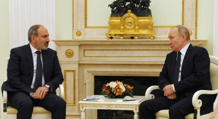 بوتين هنأ باشينيان بفوز حزبه بالانتخابات البرلمانية بأرمينيا وبحثا بملف قره باغ