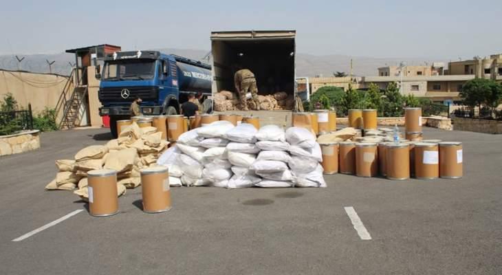 الجيش: توقيف 419 شخصا وضبط 103 أسلحة و10.6 كلغ من المخدرات خلال شهر نيسان
