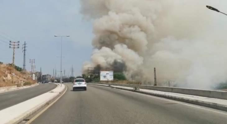 النشرة: حريق في حارة صيدا بمحاذاة اوتوستراد الشماع