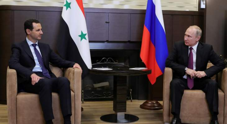 بوتين هنأ الأسد: روسيا تعتزم مواصلة الجهود لضمان الأمن والاستقرار على أراضي سوريا