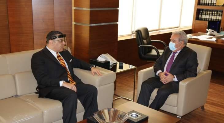 المشرفية عرض الأوضاع العامّة مع السفير المصري وبحث في المساعدات المقدّمة إلى لبنان