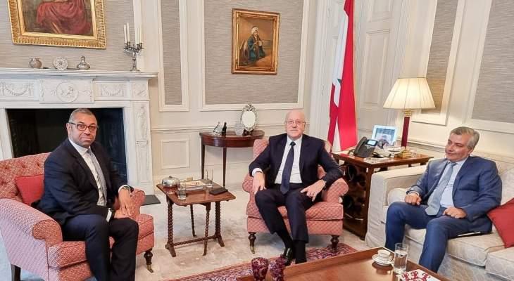 ميقاتي بحث العلاقات الثنائية مع الوزير البريطاني لشؤون الشرق الأوسط