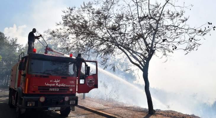 حريق في مرج بسري امتد الى احراج بحنين والدفاع المدني يعمل على اخماده
