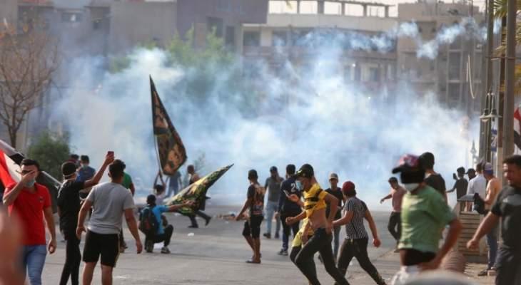 أربعة قتلى من المتظاهرين بقنابل مسيلة للدموع في وسط بغداد