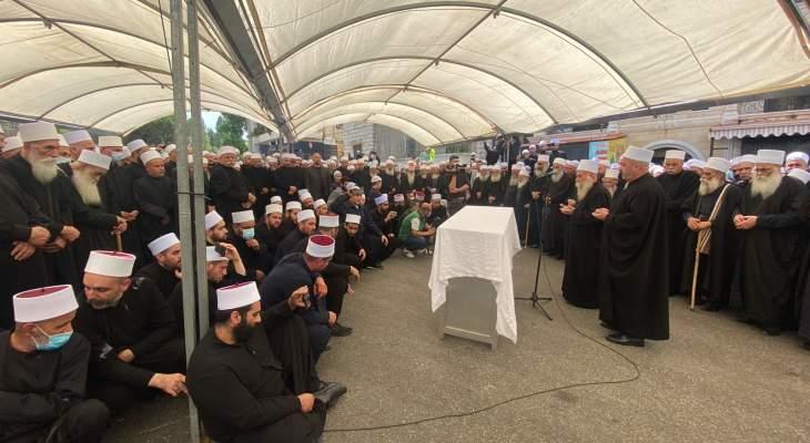 الطائفة الدرزية شيعت الشيخ أبو محمد سعيد جابر بعاليه بحضور ارسلان ووهاب